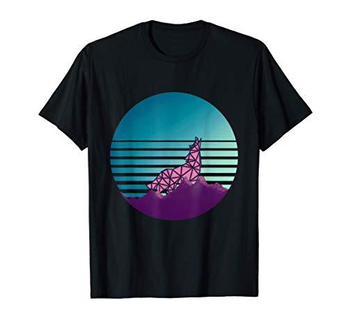 Lobo Vaporwave Geométrico. Diseño Arcade Retro de los 80 Camiseta