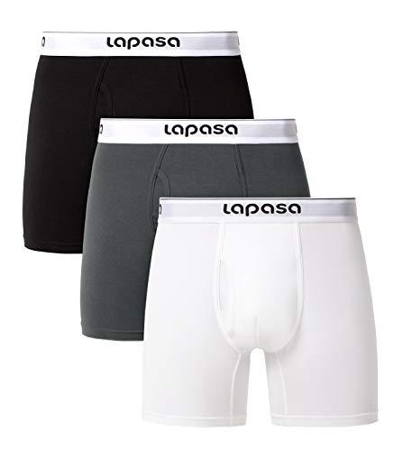 LAPASA Herren 3er Pack Baumwolle Boxershorts Unterwäsche Lange Bein Trunks M46