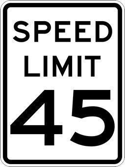 NDTS Metal Sign 8x12 inches Tin Sign 45-MPH Speed Limit Sign