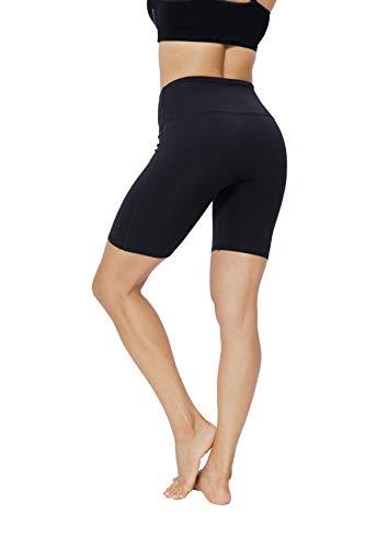 JEPOZRA Pantalon Corto Deportivo Mujer Leggins Anticeluliticos Cintura Alta Pantalones Largos de Compresión Secado Rápido Pantalones Deporte Mallas Largas para Running Fitness Yoga (L, Negro)