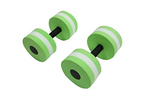 Trademark Innovations Water Aerobics Aquatic Exercise Dumbbells (Light Green, .66 lbs, 11 x 6-Inch, Set of 2)
