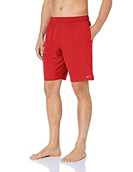 NIKE Swim Men s Solid Lap 9  Volley Short Swim Trunk University Red White Medium