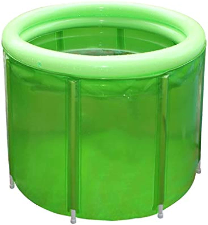 HAIYING Faltendes Badfass, Erwachsenplastikbadewanne Badefa Badfa Transparenter Stahlrahmen Isolierungslauf, 100  72CM (Farbe   Grün, gre   100  72CM)
