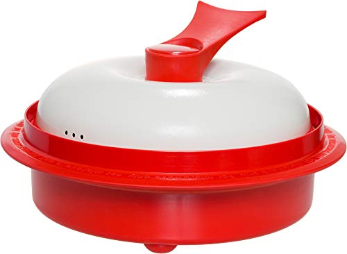 """Range Mate Pro Deluxe Nonstick Microwave 5-in-1 Grill Pot/Pan Cookware Set""""As Seen On TV"""" (Grill, Bake, Roast, Saute, Steam, Poach, One Pot Meals) (Red)"""