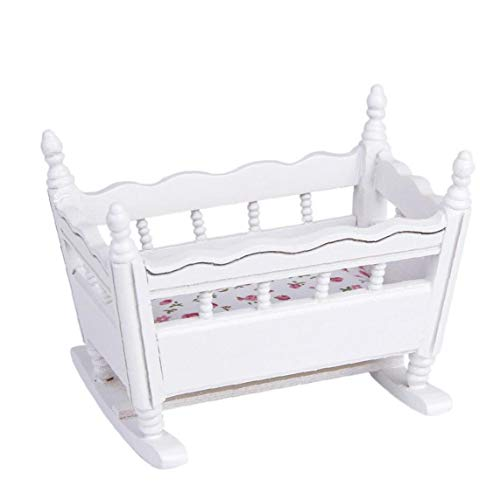 White Wooden 1:12 Miniature Baby Cradle Doll Crib Bed Dollhouse Decoration Crib Toy
