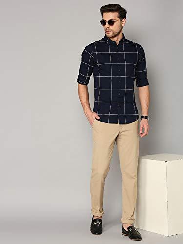 Dennis Lingo Men's Checkered Button Down Slim Fit Cotton Casual Shirt