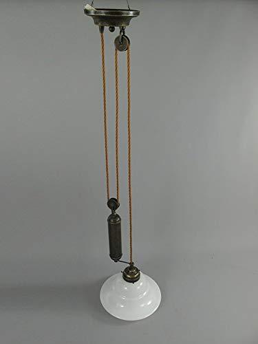 linoows Jugendstil Pendelleuchte, Antike Hängelampe, Leuchte mit Zuggewicht, Altmessing