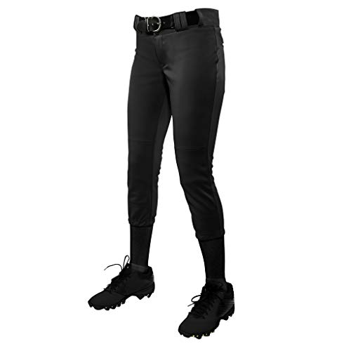 CHAMPRO Women's Tournament Traditional Low-Rise Polyester Softball Pant, Small, Black