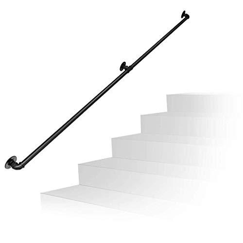 Brazo FHW Negro Barandilla de Escalera Interior y Uso al Aire Libre |Los Soportes de Montaje en Pared Escalera Barandilla Barandilla for Piscina Kit de barandillas de Seguridad Jardín, Tamaño: 450cm
