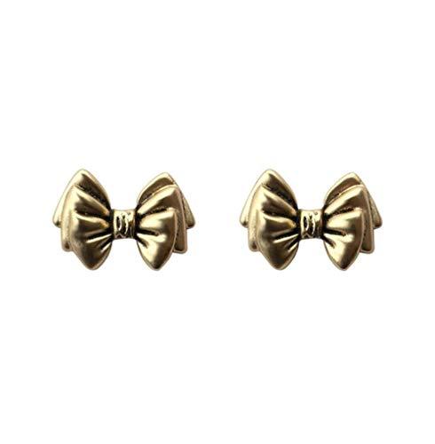 MXHJD Unique Metal Cute Bowknot Stud Earrings for Women Vintage Korean Small Earrings Fashion Gift Jewelry