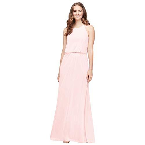 David's Bridal Blouson High-Neck Mesh Bridesmaid Dress Style F19941, Petal, 24