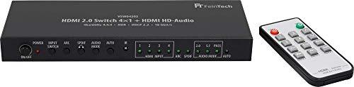FeinTech VSW04202 HDMI 2.0 Switch 4x1 HD-Audio Extractor 7.1 ARC 4K 60Hz HDR CEC
