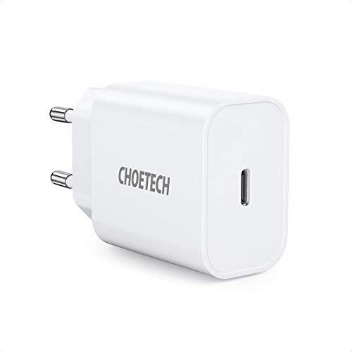 CHOETECH Cargador iPhone Rápido, PD 18W Cargador USB C, Cargador Rápido QC 3.0+PD para iPhone 11/11Pro/SE 2020/XS/XR/X/8+, Galaxy S20/S20+/Note10/10+/9/S9/S8, Xiaomi, Airpods, Huawei P30 P20, iPad Pro
