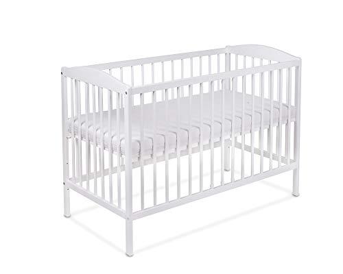 Lit pour Bébé à barreaux TOMI 5 - Barreaux amovibles avec MATELAS, Blanc.