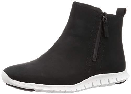 Cole Haan Women's Zerogrand Side Zip Bootie Waterproof Ankle Boot, BLACK NUBUCK/OPTIC WHITE, 6 B US