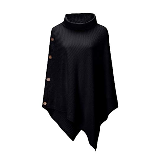 LYEXO Vrouwen Turtlenhoek Sweater Women S Knit Turtle Neck Poncho met knop Irregular Hem Sweaters Casual Streetwear
