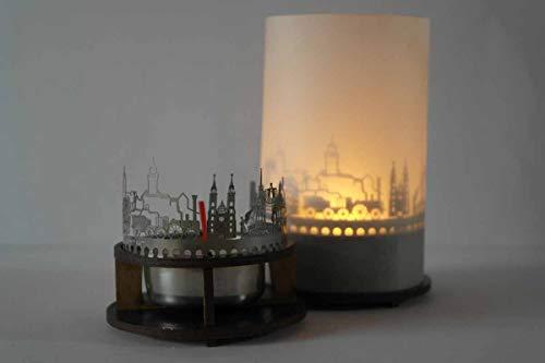 13gramm Nürnberg-Skyline Windlicht Schattenspiel Premium Geschenk-Box Souvenir, inkl. Kerzenhalter, Kerze, Projektionsschirm und Teelicht