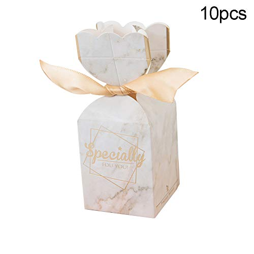 TankMR 10 Stks Bedankt Print Kerstmis Papieren Dozen, Behandelt Snoep Chocolade Goodies Dozen, Kerst Feestartikelen