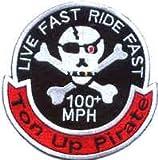 Paseo duro paseo rápido coser-en hierro-en parche motorista moto placa Ton hasta pirata