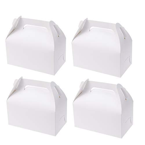 24 Unids Kraft Paper Treat Box Comida Desechable Contenedores de Preparación Galletas Dulces Paquete de Torta Cajas de Regalos de Boda Regalos de Dulces de Chocolate Caja de Fiesta con Mango