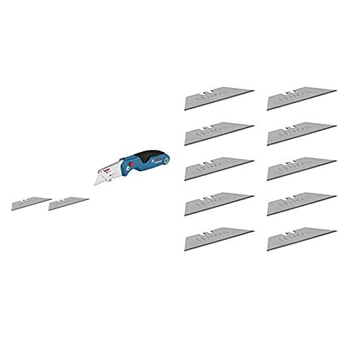 Bosch Professional 1600A016BL Coltello a Serramanico Universale con Scomparto Portalame nell'Impugnatura in Metallo & 1600A016ZH 10 Riserva per Coltello a Serramanico, Inclusi Lame Trapezoidali