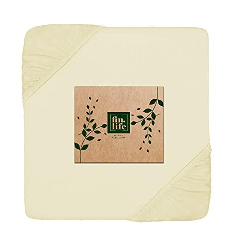 Baumwoll-Spannbetttuch, Fadenzahl 400, King-Size, Buttercremefarben, Bettwäsche – 100 prozent Baumwolle, extra langstapelig, weiches Satin-Gewebe, passend für 38,1 cm tiefe Taschenmatratzen