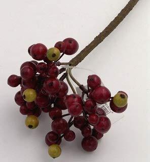 E+N Beeren-Zweig weinrot olivgrün, Gesamt-Länge: ca. 35 cm, Breite Oben: ca. 10-14 cm, kann individuell gekürzt Werden, Beeren: Styro mit Glanz-Überzug, Textil/Kunststoff/Draht