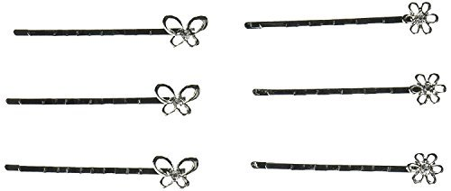 Bobby PinsAssorted Silver Flower/Butterfly Pins (12 Total: 6 Flower   6 Butterfly)