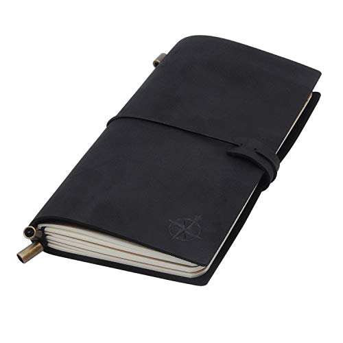 Diario di viaggio in pelle nera – Wanderings Black Travelers Notebook, ricaricabile, perfetto per scrivere, poesia, registro, viaggiatori, un diario, dimensioni standard, inserti vuoti, 21,6 x 11,4 cm