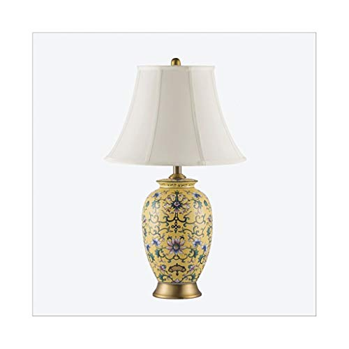 Desk Lamps Ceramic Table Lamp,Bedside Desk Lamp,Fabric Lampshade,For Bedroom,Living Room,A Variety Of Styles Are Available,Without Bulb Table Lamps (Color : Yellow A)