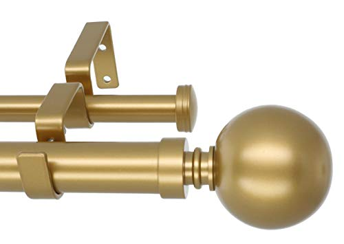MERIVILLE 1-Inch Diameter Ball Telescoping Double Window Treatment Curtain Rod, 28-Inch to 48-Inch, Royal Gold