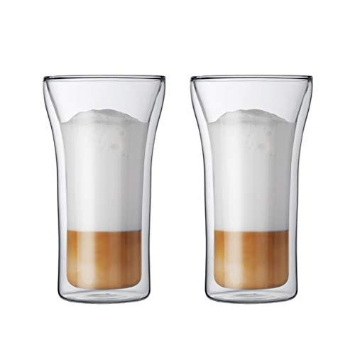 Bodum ASSAM 2-teiliges Kaffeeglas-Set (Doppelwandig, Mundgeblasen, Spülmaschinengeeignet, 0,4 liters) transparent
