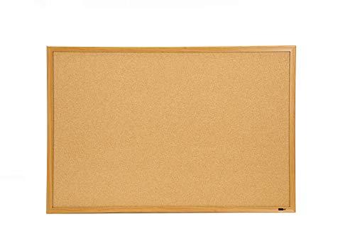 "INNOVART Cork Bulletin Board 48"" X 36"" with 10 Push Pins, Corkboard with Oak Wood Frame, Cork Notice Board for Home, Office, School"