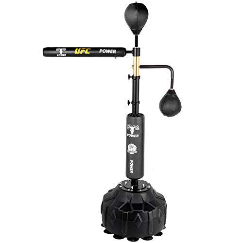 Happybuy Boxing Speed Trainer, Punching Bag Spinning Bar, Training Boxing Ball with Reflex Bar & Gloves, Solid Speed Punching Bag Free Standing, Adjustable Height, for Adult&Kid, with Two Ball