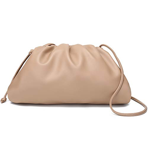 CATMICOO Cloud Crossbody Bags for Women Clutch Purse with Dumpling Shape and Ruched Detail (Apricot-Large)