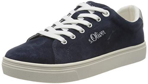s.Oliver Damen 5-5-23660-24 Sneaker, Blau (Navy Suede 808), 40 EU