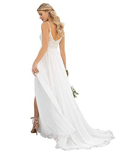 Women's Spaghetti Strap V-Neck Lace Chiffon Beach Wedding Dress A-line Bridal Wedding Gowns with Slit White US12