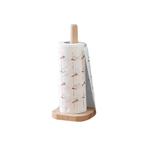 Portarrollos de madera vertical de AniU para rollo de papel de cocina, soporte de papel de madera de haya natural con base antideslizante para cocina, color madera, 31,5 x 13 cm