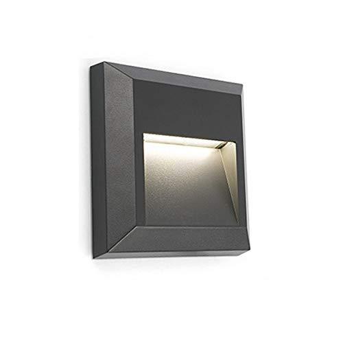 ZONK 120V Outdoor Indoor Step Lights, Waterproof IP65, 4000K Natural Lighting, Square Wall Mount Stair Lights Landscape Stairway Lighting, Plastic Black Finish