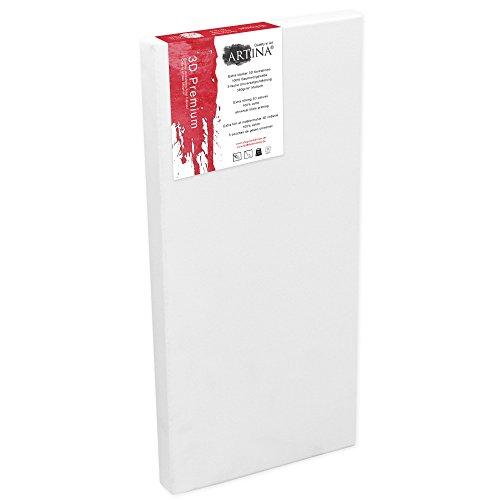 Artina Premium 3D - 40x100 cm - Lienzo Blanco Estable y pretratado para Pintar - con Bastidor Extra Grueso 380g/m²