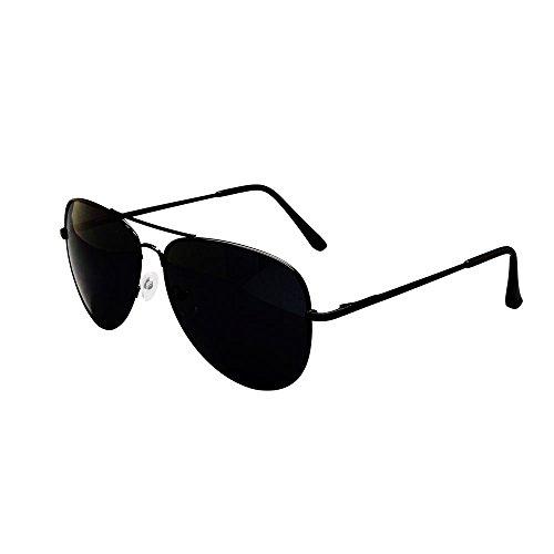 FashionLDN Aviator Sonnenbrille und Stoffbeutel, UV 400, für Damen und Herren, Schwarz