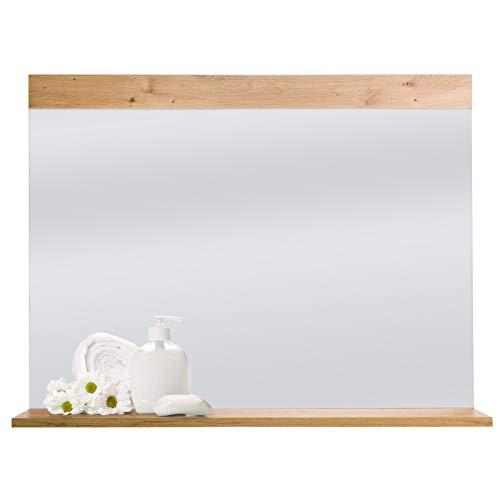COSTWAY Wandspiegel mit Ablage, Badspiegel Holz Spiegel Flurspiegel Schminkspiegel Holzspiegel für Wand Badezimmer Schlafzimmer 90x70cm