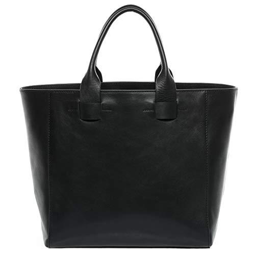 FEYNSINN Borsa a mano vera pelle TROYE grande borsettamanico Tote bag donna cuoio nero