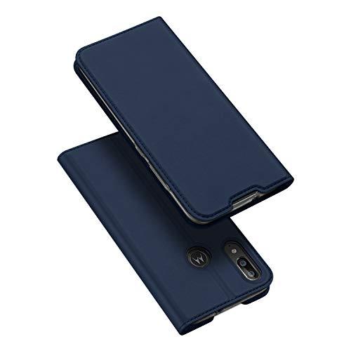 DUX DUCIS Hülle für Motorola Moto E6 Plus, Leder Flip Handyhülle Schutzhülle Tasche Hülle mit [Kartenfach] [Standfunktion] [Magnetverschluss] für Motorola Moto E6 Plus (Blau)