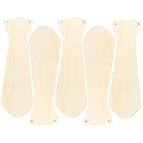 PRETYZOOM 5 lazos de madera con forma de madera pintada a mano, juguete de graffiti para manualidades, regalo del día del padre