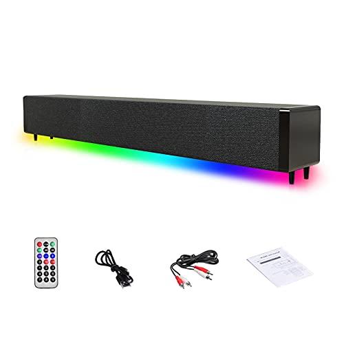 Hengjierun Altavoz para computadora para Juegos, 4 Barras de Sonido de Escritorio RGB con Control Remoto y conexión AUX USB RCA Altavoz inalámbrico Bluetooth para TV, PC, Tableta, proyector