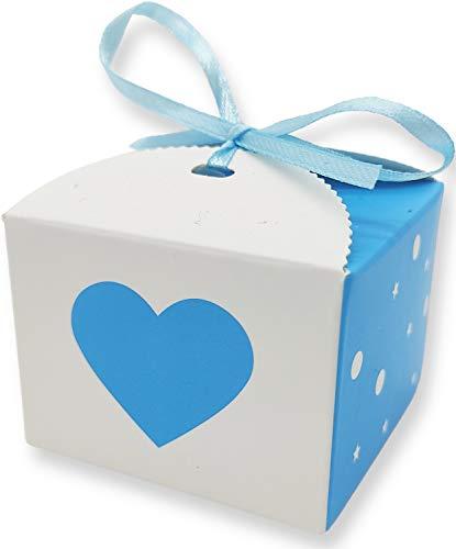 EROUDY - 24 scatole per bomboniere, confetti, regalo, motivo cuore con nastro sottile, per battesimo, matrimonio, nascita, compleanno, contenitore 5,5 cm, colore: Blu