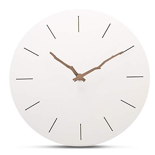 HLDY Minimalista Reloj de Pared de Madera Circular silencioso Decorati