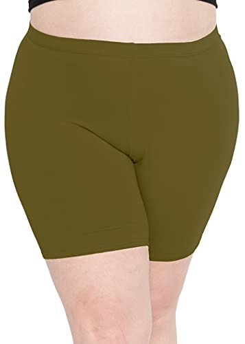 Stretch is Comfort Women's Cotton Plus Size Bike Shorts Olive Green 3XL
