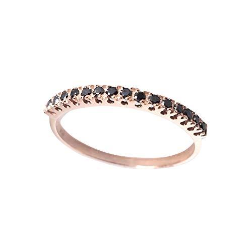 luppino gioielli Anello Donna Fidanzamento in Oro Rosa 18kt 750 e Diamanti Neri Naturali 0.08ct Ultima Moda Regalo San Valentino